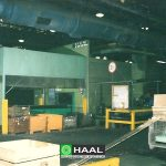 Noise barrier of ventilators inside factory hall